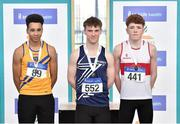 6 April 2019; Danny Kelly of Belgooly AC, Cork, who won gold in the boys under-16 long jump with second place Bobby Amadi of Dublin Striders AC and third place Conor Hoade of Galway City Harriers AC during Day 3 of the Irish Life Health National Juvenile Indoor Championships at AIT in Athlone, Co Westmeath. Photo by Matt Browne/Sportsfile