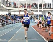6 April 2019; Daniel McHugh from Finn Valley, Donegal, celebrates leading his team home to win the boys under-15 4x200m relay during Day 3 of the Irish Life Health National Juvenile Indoor Championships at AIT in Athlone, Co Westmeath. Photo by Matt Browne/Sportsfile