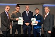 06 April 2019; The Waterford recipients including Emmet Quann, Brian Cuddihy are photographed with Uachtaráin Cumann Lúthchleas Gael John Horan, Willie Barrett, left, Chairman National Referee Development Committee, and Vincent Neary, right, Chairman Referee Instructor Workgroup, at the presentation of certificates to new referees at Croke Park in Dublin. Photo by Ray McManus/Sportsfile