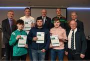 06 April 2019; The Sligo recipients including Conor Feehily,  Jack Maher, Michael Henry, Oisin Moffatt, John Gilmartin – Administrator, are photographed with Uachtaráin Cumann Lúthchleas Gael John Horan, Willie Barrett, left, Chairman National Referee Development Committee, and Vincent Neary, right, Chairman Referee Instructor Workgroup,  at the presentation of certificates to new referees at Croke Park in Dublin. Photo by Ray McManus/Sportsfile
