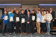 06 April 2019; The Meath recipients including Robbie Barrett, Stephen Dawson, Finton O'Brien, Derek Ryan, Mark Baldwin, Thomas Meade, Dave Gavagan, Darragh Kenny, Liam Farrell, Damian Beakey, Greg Carry, Damien Griffin, Gearoid O'Brien, David Gavagan, Roger Casey, Gillian Bennett, Kieran Olwell, Graham Whelan, Frank Gallogly – Administrator, are photographed with Uachtaráin Cumann Lúthchleas Gael John Horan, Willie Barrett, left, Chairman National Referee Development Committee, and Vincent Neary, right, Chairman Referee Instructor Workgroup, at the presentation of certificates to new referees at Croke Park in Dublin. Photo by Ray McManus/Sportsfile