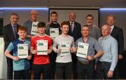 06 April 2019; The Monaghan recipients including Ethan Mullen, Conor Caulfield, Darragh Corrigan, Aidan McGarrell, Frank Mc Gonnell, Finbar Mc Nally, Cormac Connolly – Administrator, are photographed with Uachtaráin Cumann Lúthchleas Gael John Horan, Willie Barrett, left, Chairman National Referee Development Committee, and Vincent Neary, right, Chairman Referee Instructor Workgroup, at the presentation of certificates to new referees at Croke Park in Dublin. Photo by Ray McManus/Sportsfile