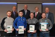 06 April 2019; The Tyrone recipients including Gerard Fox, Padraig Leonard, Shane Hughes, Conall Mc Ginn, John Devlin – Administrator are photographed with Uachtaráin Cumann Lúthchleas Gael John Horan, Willie Barrett, left, Chairman National Referee Development Committee, and Vincent Neary, right, Chairman Referee Instructor Workgroup, at the presentation of certificates to new referees at Croke Park in Dublin. Photo by Ray McManus/Sportsfile
