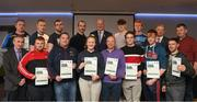 06 April 2019; The Mayo recipients including Anthony Friel, Kieran Cawley, John Clancey, Padraic Kilboyle, Jim Toohig, Sean O'Hora, Cormack Mc Carthy, Saul McCarthy, Dean McGarry, Aaron Dee, Stephen Grealis, Diarmaid Griffith, Fiona Collins, Michael Daly – Administrator, are photographed with Uachtaráin Cumann Lúthchleas Gael John Horan, Willie Barrett, left, Chairman National Referee Development Committee, and Vincent Neary, right, Chairman Referee Instructor Workgroup,  at the presentation of certificates to new referees at Croke Park in Dublin. Photo by Ray McManus/Sportsfile