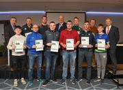 06 April 2019; The Limerick recipients including Mark O'Callaghan, David McGuinness, John Clifford, John Casey, Ciaràn Sheehan, John O Donnell, Ciarain Meade, Daniel O'Donnell, Mike Meade – Administrator, are photographed with Uachtaráin Cumann Lúthchleas Gael John Horan, Willie Barrett, left, Chairman National Referee Development Committee, and Vincent Neary, right, Chairman Referee Instructor Workgroup, at the presentation of certificates to new referees at Croke Park in Dublin. Photo by Ray McManus/Sportsfile