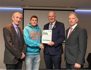 06 April 2019; The Offaly recipient Sean Maher is photographed with Uachtaráin Cumann Lúthchleas Gael John Horan, Willie Barrett, left, Chairman National Referee Development Committee, and Vincent Neary, right, Chairman Referee Instructor Workgroup, at the presentation of certificates to new referees at Croke Park in Dublin. Photo by Ray McManus/Sportsfile