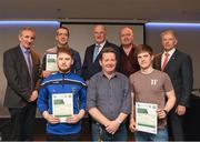 06 April 2019; The Leitrim recipients including Willie Barrett, left, Chairman National Referee Development Committee, Gary Fay, Cormac Fitzpatrick, John Duffy – Administrator and Vincent Neary, right, Chairman Referee Instructor Workgroup, are photographed with Uachtaráin Cumann Lúthchleas Gael John Horan, Willie Barrett, left, Chairman National Referee Development Committee, and Vincent Neary, right, Chairman Referee Instructor Workgroup,  at the presentation of certificates to new referees at Croke Park in Dublin. Photo by Ray McManus/Sportsfile