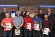 06 April 2019; The Laois recipients including Patrick Phelan, Tom Phelan, John Michael McDonald, Gerry Williams, Damien Fitzpatrick, Thomas Tynan, Alan O'Connor, Jody Conway – Administrator, are photographed with Uachtaráin Cumann Lúthchleas Gael John Horan, Willie Barrett, left, Chairman National Referee Development Committee, and Vincent Neary, right, Chairman Referee Instructor Workgroup, at the presentation of certificates to new referees at Croke Park in Dublin. Photo by Ray McManus/Sportsfile
