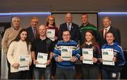 06 April 2019; The Galway recipients including Shane Glynn, Fran Kearns, Mary Feeney, Éilís Ní Shé, Aobh Ní Dhubhghaill, Paul Concannon, Síofra Ní Mhárta, Alan Kelly, Michael Nee – Administrator are photographed with Uachtaráin Cumann Lúthchleas Gael John Horan, Willie Barrett, left, Chairman National Referee Development Committee, and Vincent Neary, right, Chairman Referee Instructor Workgroup, at the presentation of certificates to new referees at Croke Park in Dublin. Photo by Ray McManus/Sportsfile