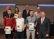 06 April 2019; The Carlow recipients including James Foley, Tom Joyce, Mark Davis, Caoimhe Deering, Martin Barry – Administrator are photographed with Uachtaráin Cumann Lúthchleas Gael John Horan, Willie Barrett, Chairman National Referee Development Committee, and Vincent Neary, Chairman Referee Instructor Workgroup, at the presentation of certificates to new referees at Croke Park in Dublin. Photo by Ray McManus/Sportsfile