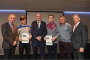 06 April 2019; The Clare recipients including Cian McNulty, Ciarán Jones, , Damian Fox – Administrator, are photographed with Uachtaráin Cumann Lúthchleas Gael John Horan, Willie Barrett, left, Chairman National Referee Development Committee, and Vincent Neary, right, Chairman Referee Instructor Workgroup, at the presentation of certificates to new referees at Croke Park in Dublin. Photo by Ray McManus/Sportsfile