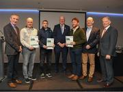 06 April 2019; The Cork recipients including Colin Lawless, James O'Sullivan, Adrian McGearty, and Ger Harrington – Administrator are photographed with Uachtaráin Cumann Lúthchleas Gael John Horan, Willie Barrett, left, Chairman National Referee Development Committee, and Vincent Neary, right, Chairman Referee Instructor Workgroup, at the presentation of certificates to new referees at Croke Park in Dublin. Photo by Ray McManus/Sportsfile