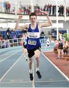 6 April 2019; Daniel McHugh of Finn Valley, Donegal, celebrates leading his team home to win the boys under-15 4x200m relay during Day 3 of the Irish Life Health National Juvenile Indoor Championships at AIT in Athlone, Co Westmeath. Photo by Matt Browne/Sportsfile