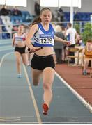 6 April 2019; Corrine Kenny from St. Laurance O'Toole's Carlow leads her team home to win the girls under-19 4x200m relay during Day 3 of the Irish Life Health National Juvenile Indoor Championships at AIT in Athlone, Co Westmeath.  Photo by Matt Browne/Sportsfile