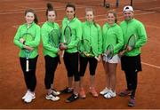 6 April 2019; Team Ireland players, from left, Juliana Carton, Jane Fennelly, Rachael Dillon, Sinead Lohan,Shauna Heffernan and captain John McGahon during the Irish Ladies Fed Cup Team Open Training Session at Naas Lawn Tennis Club in Naas, Co. Kildare ahead of the Montenegro Challenge. Photo by David Fitzgerald/Sportsfile