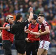 6 April 2019; James Dolan of Westmeath is shown a black card by referee Jerome Henry during the Allianz Football League Division 3 Final match between Laois and Westmeath at Croke Park in Dublin. Photo by Ray McManus/Sportsfile