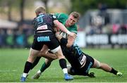 6 April 2019; Peter Robb of Connacht Rugby is tackled by Joshua Renton, left, and Renato Giammarioli of Zebre Rugby Club during the Guinness PRO14 Round 19 game between Zebre Rugby Club and Connacht Rugby at Stadio Lanfranchi in Parma, Italy. Photo by Roberto Bregani/Sportsfile