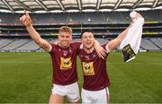 6 April 2019; Luke Loughlin, left, and Ronan O'Toole of Westmeath celebrate after the Allianz Football League Division 3 Final match between Laois and Westmeath at Croke Park in Dublin. Photo by Ray McManus/Sportsfile