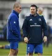 6 April 2019; Leinster scrum coach John Fogarty, right, and senior coach Stuart Lancaster prior to the Guinness PRO14 Round 19 match between Leinster and Benetton at the RDS Arena in Dublin. Photo by David Fitzgerald/Sportsfile