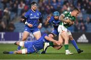 6 April 2019; Marco Zanon of Benetton is tackled by Scott Penny, left, and Mick Kearney of Leinster during the Guinness PRO14 Round 19 match between Leinster and Benetton at the RDS Arena in Dublin. Photo by David Fitzgerald/Sportsfile