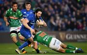 6 April 2019; Barry Daly of Leinster is tackled by Tommaso Allan of Benetton during the Guinness PRO14 Round 19 match between Leinster and Benetton at the RDS Arena in Dublin. Photo by Ramsey Cardy/Sportsfile