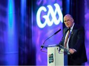 6 April 2019; Uachtarán Chumann Lúthchleas Gael John Horan speaking at the AIB GAA Club Player 2018/19 Awards at Croke Park in Dublin. Photo by Stephen McCarthy/Sportsfile