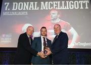 6 April 2019; Donal McElligott of Mullinalaghta presented with his award by Uachtarán Chumann Lúthchleas Gael John Horan, right, and Denis O'Callaghan, Head of AIB Retail Banking, at the AIB GAA Club Player 2018/19 Awards at Croke Park in Dublin. Photo by Stephen McCarthy/Sportsfile