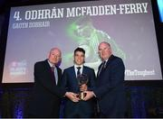 6 April 2019; Odhrán McFadden-Ferry of Gweedore is presented with his award by Uachtarán Chumann Lúthchleas Gael John Horan, right, and Denis O'Callaghan, Head of AIB Retail Banking, at the AIB GAA Club Player 2018/19 Awards at Croke Park in Dublin. Photo by Stephen McCarthy/Sportsfile