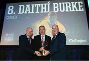 6 April 2019; Gerry Burke, father of Daithí Burke of Corofin, is presented with his son's award by Uachtarán Chumann Lúthchleas Gael John Horan, right, and Denis O'Callaghan, Head of AIB Retail Banking, at the AIB GAA Club Player 2018/19 Awards at Croke Park in Dublin. Photo by Stephen McCarthy/Sportsfile