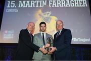 6 April 2019; Martin Farragher of Corofin is presented with his award by Uachtarán Chumann Lúthchleas Gael John Horan, right, and Denis O'Callaghan, Head of AIB Retail Banking, at the AIB GAA Club Player 2018/19 Awards at Croke Park in Dublin. Photo by Stephen McCarthy/Sportsfile