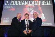 6 April 2019; Eoghan Campbell of Ruairí Óg Cushendall is presented with his award by Uachtarán Chumann Lúthchleas Gael John Horan, right, and Denis O'Callaghan, Head of AIB Retail Banking, at the AIB GAA Club Player 2018/19 Awards at Croke Park in Dublin. Photo by Stephen McCarthy/Sportsfile