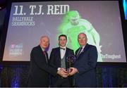 6 April 2019; TJ Reid of Ballyhale Shamrocks is presented with his award by Uachtarán Chumann Lúthchleas Gael John Horan, right, and Denis O'Callaghan, Head of AIB Retail Banking, at the AIB GAA Club Player 2018/19 Awards at Croke Park in Dublin. Photo by Stephen McCarthy/Sportsfile