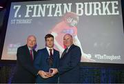 6 April 2019; Fintan Burke of St Thomas' is presented with his award by Uachtarán Chumann Lúthchleas Gael John Horan, right, and Denis O'Callaghan, Head of AIB Retail Banking, at the AIB GAA Club Player 2018/19 Awards at Croke Park in Dublin. Photo by Stephen McCarthy/Sportsfile