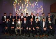 6 April 2019; The AIB GAA Club Football Team of the Year, with Uachtarán Chumann Lúthchleas Gael John Horan and Denis O'Callaghan, Head of AIB Retail Banking, at the AIB GAA Club Player 2018/19 Awards at Croke Park in Dublin. Photo by Stephen McCarthy/Sportsfile