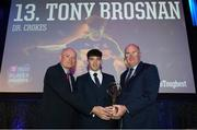 6 April 2019; Tony Brosnan of Dr Crokes is presented with his award by Uachtarán Chumann Lúthchleas Gael John Horan, right, and Denis O'Callaghan, Head of AIB Retail Banking, at the AIB GAA Club Player 2018/19 Awards at Croke Park in Dublin. Photo by Stephen McCarthy/Sportsfile
