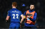 6 April 2019; Ciarán Frawley of Leinster throws his kicking tee to team-mate Robbie Henshaw during the Guinness PRO14 Round 19 match between Leinster and Benetton at the RDS Arena in Dublin. Photo by David Fitzgerald/Sportsfile