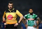 6 April 2019; Referee Nigel Owens watches an incident on the big screen during the Guinness PRO14 Round 19 match between Leinster and Benetton at the RDS Arena in Dublin. Photo by David Fitzgerald/Sportsfile