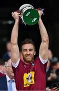 6 April 2019; Kevin Maguire of Westmeath lifts the cup after the Allianz Football League Division 3 Final match between Laois and Westmeath at Croke Park in Dublin. Photo by Ray McManus/Sportsfile