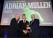 6 April 2019; Adrian Mullen of Ballyhale Shamrocks is presented with his Hurler of the Year award by Uachtarán Chumann Lúthchleas Gael John Horan, right, and Denis O'Callaghan, Head of AIB Retail Banking, at the AIB GAA Club Player 2018/19 Awards at Croke Park in Dublin. Photo by Stephen McCarthy/Sportsfile