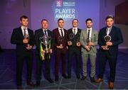 6 April 2019; Corofin GAA Club Chairman Michael Ryder, second from left, with recipients, from left, Liam Silke, Jason Leonard, Kieran Molloy, Martin Farragher and Bernard Power at the AIB GAA Club Player 2018/19 Awards at Croke Park in Dublin. Photo by Stephen McCarthy/Sportsfile