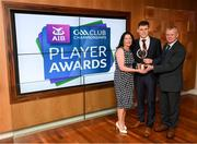 6 April 2019; Dr Crokes footballer Gavin White with parents Theresa and Noel at the AIB GAA Club Player 2018/19 Awards at Croke Park in Dublin. Photo by Stephen McCarthy/Sportsfile