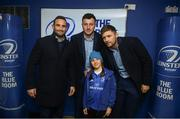 6 April 2019; Leinster players, from left, Dave Kearney, Will Connors and Ross Byrne pose for pictures with supporters in the blue room at the Guinness PRO14 Round 19 match between Leinster and Benetton at the RDS Arena in Dublin. Photo by David Fitzgerald/Sportsfile