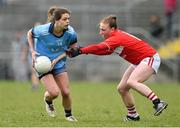 07 April 2019; Noelle Healy of Dublin in action against Ashling Hutchings of Cork during the Lidl Ladies NFL Round 7 match between Cork and Dublin at Mallow in Co. Cork. Photo by Matt Browne/Sportsfile