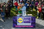 6 April 2019; Casey Mullan of St Catherine's, Armagh, is presented with the player of the match award by Ladies Gaelic Football Association President Marie Hickey following the Lidl All Ireland Post Primary School Junior A Final match between Coláiste Bhaile Chláir, Claregalway, Galway, and St Catherine's, Armagh, at Philly McGuinness Memorial Park in Mohill in Co Leitrim. Photo by Stephen McCarthy/Sportsfile