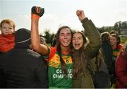 6 April 2019; Clia Creaney of St Catherine's, Armagh, celebrates following the Lidl All Ireland Post Primary School Junior A Final match between Coláiste Bhaile Chláir, Claregalway, Galway, and St Catherine's, Armagh, at Philly McGuinness Memorial Park in Mohill in Co Leitrim. Photo by Stephen McCarthy/Sportsfile