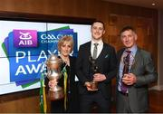 6 April 2019; AIB GAA Club Footballer of the Year Kieran Molloy of Corofin with parents Gerry and Eileen at the AIB GAA Club Player 2018/19 Awards at Croke Park in Dublin. Photo by Stephen McCarthy/Sportsfile