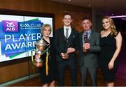 6 April 2019; AIB GAA Club Footballer of the Year Kieran Molloy of Corofin with parents Gerry and Eileen and partner Katie Burke at the AIB GAA Club Player 2018/19 Awards at Croke Park in Dublin. Photo by Stephen McCarthy/Sportsfile