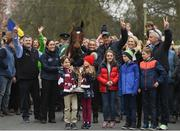 7 April 2019; The winner of the 2019 Randox Health Aintree Grand National Tiger Roll is led through the village of Summerhill in County Meath by grooms Karen Morgan, left, and Louise Dunne with from left, trainer Gordon Elliott, Matt and Tianna O'Leary, children of owner Michael O'Leary, holding the cup, and owner Michael O'Leary. Photo by Harry Murphy/Sportsfile