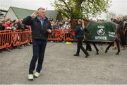 7 April 2019; Owner Michael O'Leary, left, greets the crowd as the winner of the 2019 Randox Health Aintree Grand National Tiger Roll is welcomed outside Shaw's pub in the village of Summerhill in County Meath. Photo by Harry Murphy/Sportsfile