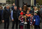 7 April 2019; The winner of the 2019 Randox Health Aintree Grand National Tiger Roll is led through the village of Summerhill in County Meath by grooms Karen Morgan, left, and Louise Dunne with from left, owner Michael O'Leary, trainer Gordon Elliott, Tianna, Matt and Zack O'Leary, children of owner Michael O'Leary. Photo by Harry Murphy/Sportsfile
